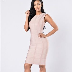Champagne pink bodycon dress
